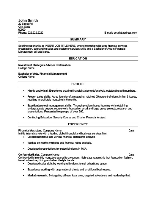 financial assistant resume template