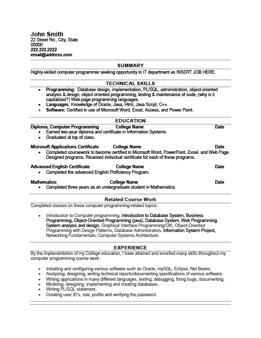 Superb Computer Programmer Resume