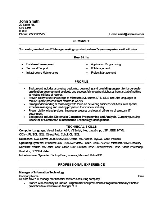 it manager resume template premium resume samples example