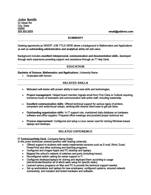Superb IT Technician Resume Inside It Technician Resume