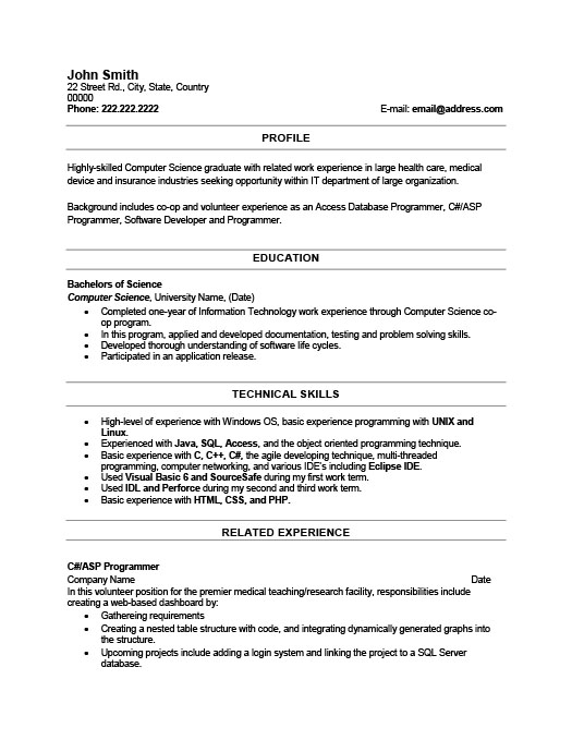 Recent Graduate Resume Template  Premium Resume Samples  Example