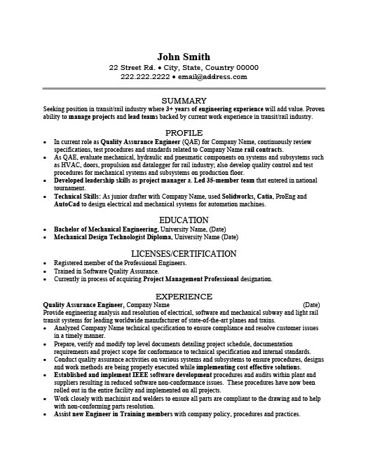 Quality Assurance Engineer Resume Template | Premium Resume Samples ...