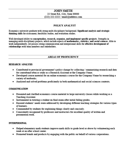 Policy Analyst Resume