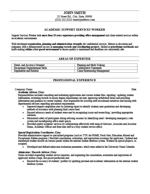 Delightful Resume Templates 101 Intended Academic Advisor Resume
