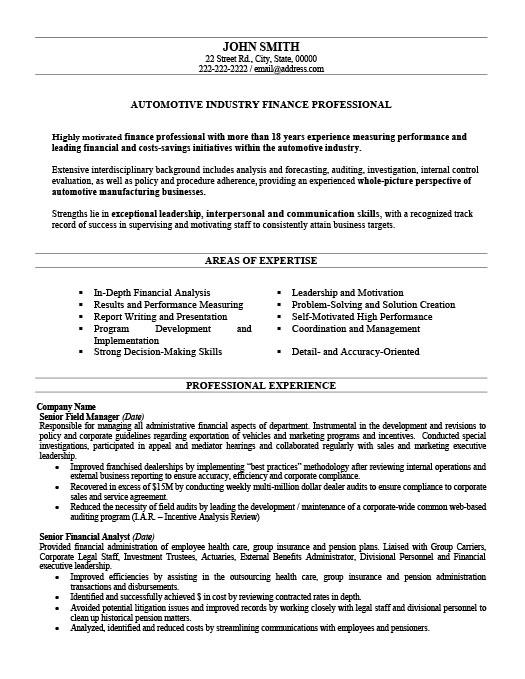 automotive finance professional resume template