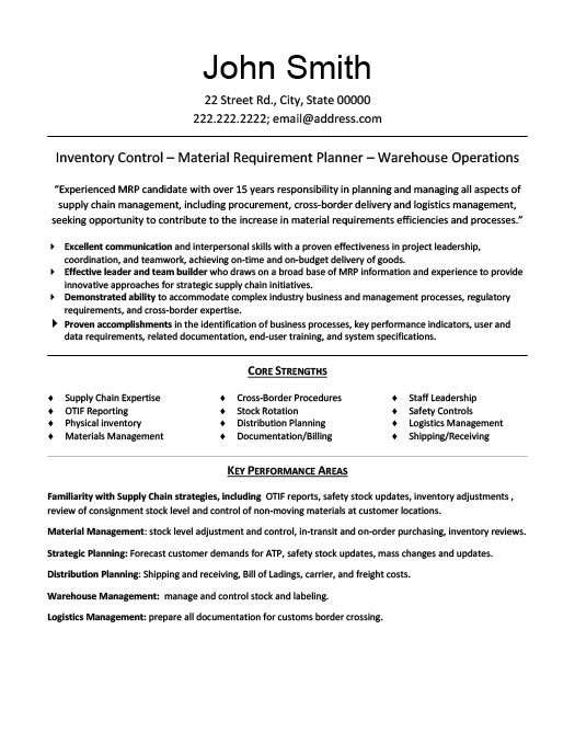 materials manager professionalresume template - Management Resume Template