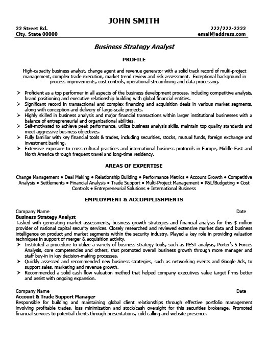 business strategy analyst resume template
