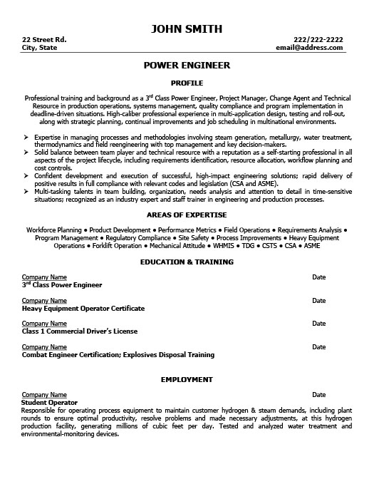 Awesome Power Engineer Resume