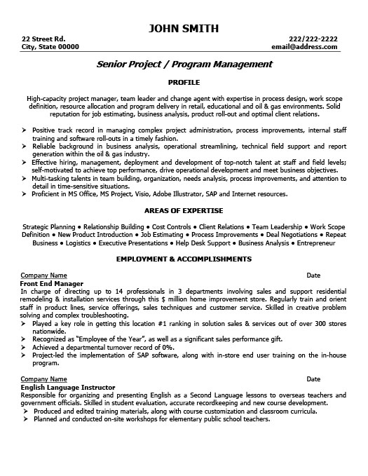 sle resume front end supervisor