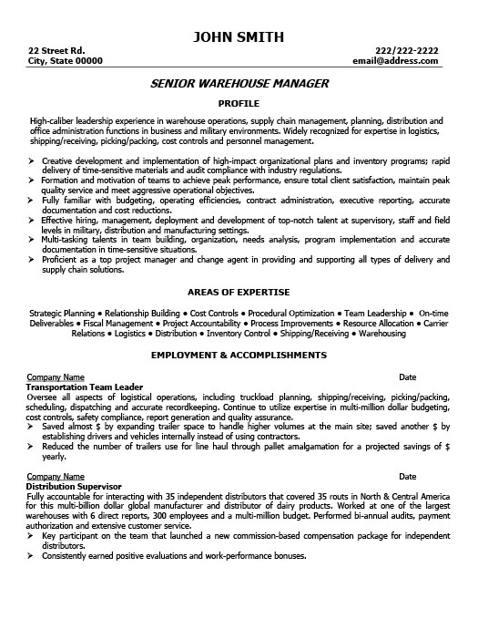 Exceptional Senior Warehouse Manager Resume