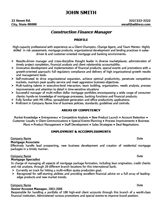 construction finance manager resume