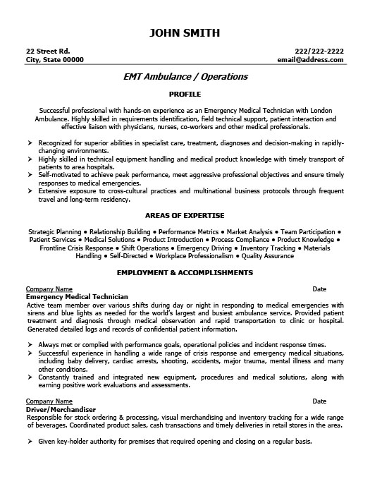 Exceptional Emergency Medical Technician Resume Intended For Emt Resume Examples