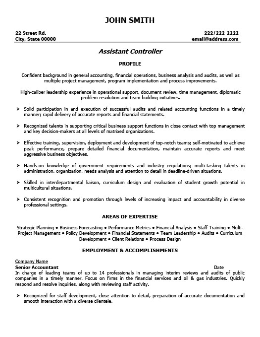 Assistant Controller Resume Template | Premium Resume Samples