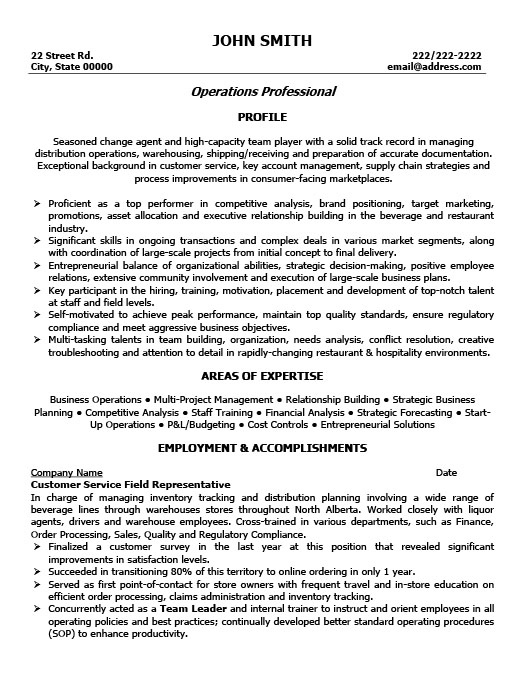 Superb Customer Service Representative Resume