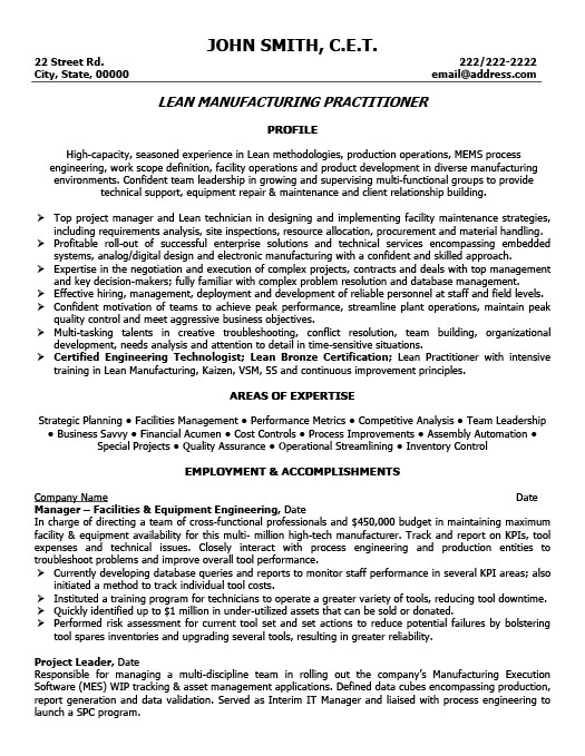 Lead Manufacturing Practitioner Resume  Manufacturing Resume Samples
