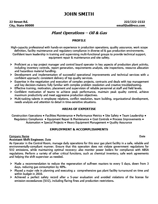 Oil and gas resume templates samples examples resume assistant shift engineer professional resume template yelopaper Images