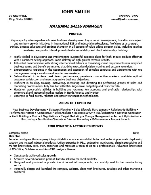 National Sales Manager Resume Template  Premium Resume Samples