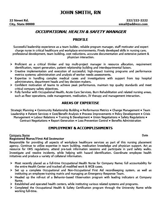 Occupational Health And Safety Manager Resume
