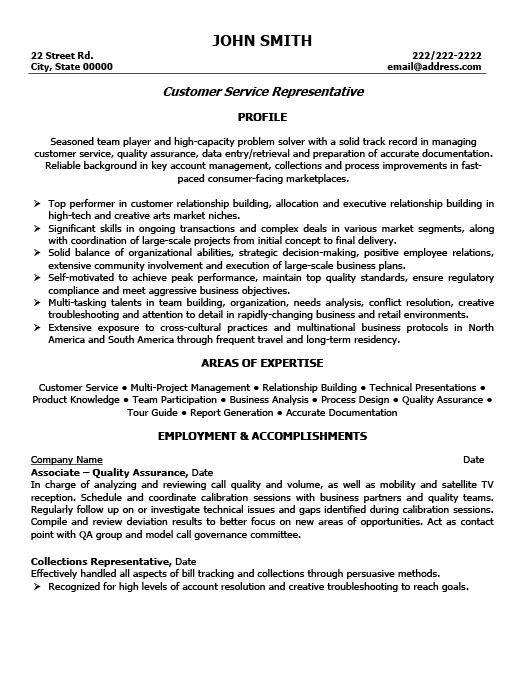 customer service representative resume - Resume Templates For Customer Service Representatives