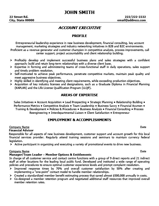Account Executive Resume  Sales Account Executive Resume