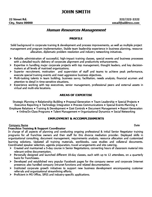 Franchise Training And Support Coordinator Resume  Training On Resume
