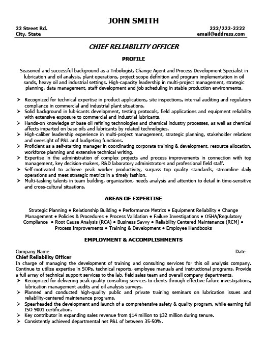 chief reliability officer resume template
