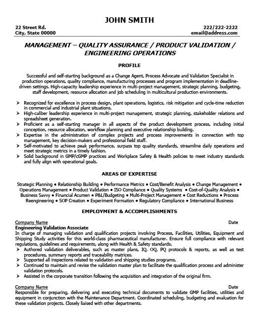quality assurance manager resume template