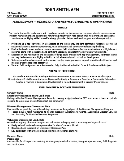 emergency response team leader resume