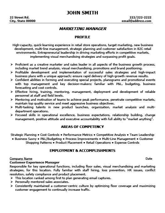 Resume Templates 101  Marketing Manager Resumes