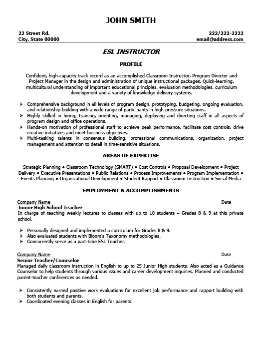 Marvelous ESL Instructor Resume  Esl Resume