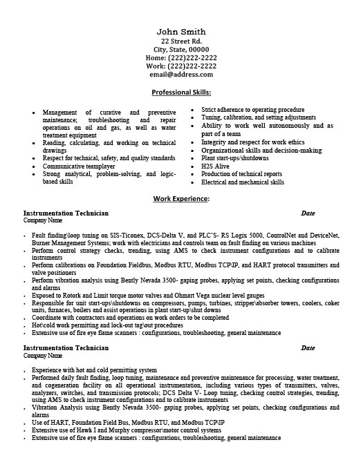 instrumentation technician resume - Technician Resume Sample