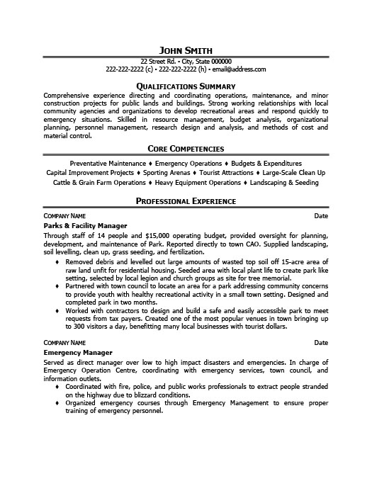 Parks And Facility Manager Resume Template | Premium Resume