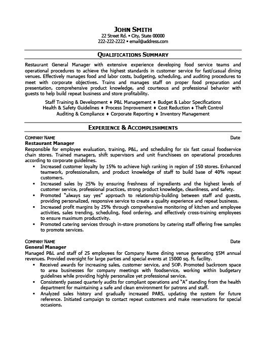 restaurant manager resume template