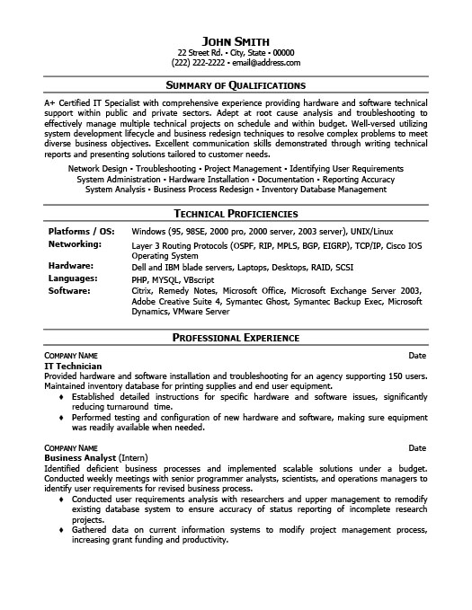Awesome IT Technician Resume And It Technician Resume