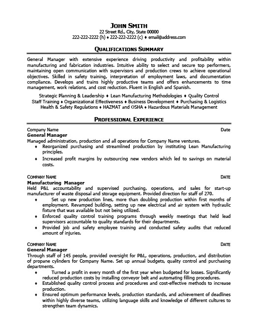 general operations manager resume