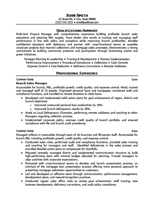 Branch Sales Manager Resume Template Premium Resume