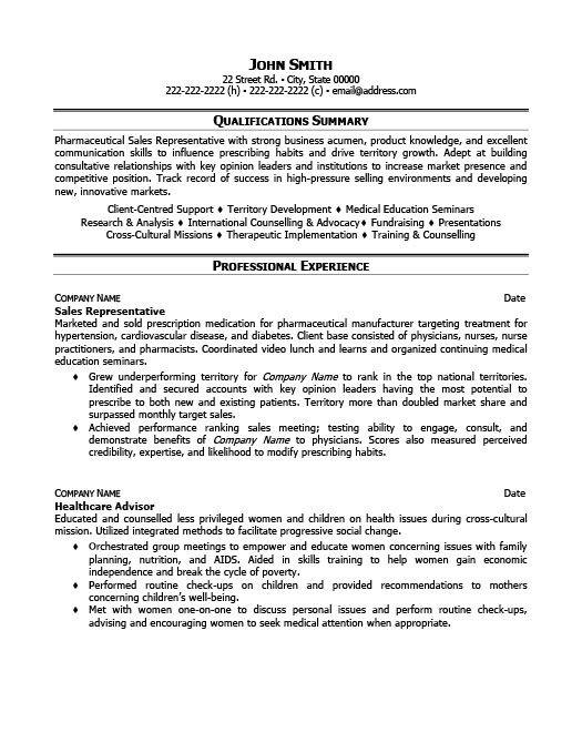 Perfect Sales Representative Resume Template | Premium Resume Samples U0026 Example Regarding Sales Representative Resume Examples