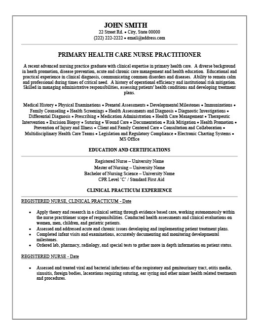 Health Care Nurse Practitioner Resume