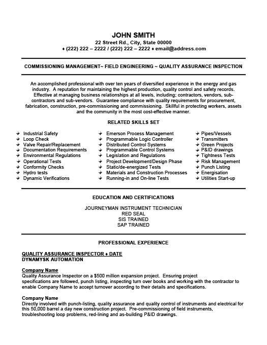 inspector resume quality - Quality Officer Sample Resume