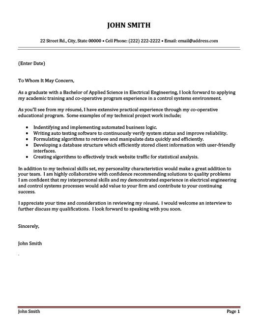 Control Systems Engineer Cover Letter