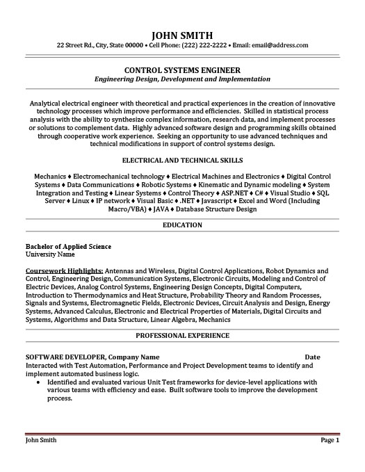 Merveilleux Control Systems Engineer Resume
