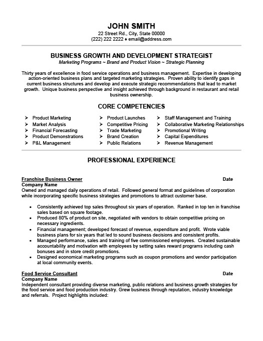 franchise business owner resume - Professional Business Resume Template