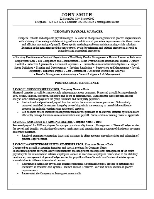 Payroll Manager Resume Template | Premium Resume Samples & Example