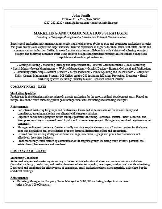 Marketing Specialist Resume Template  Premium Resume Samples  Example