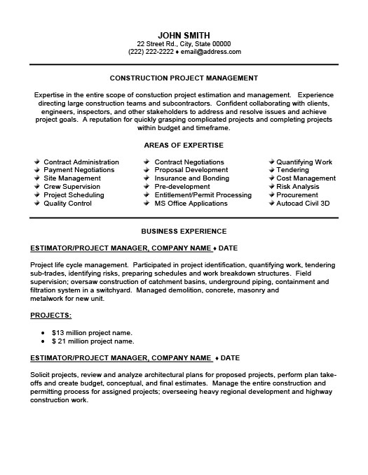 construction site supervisor resume template