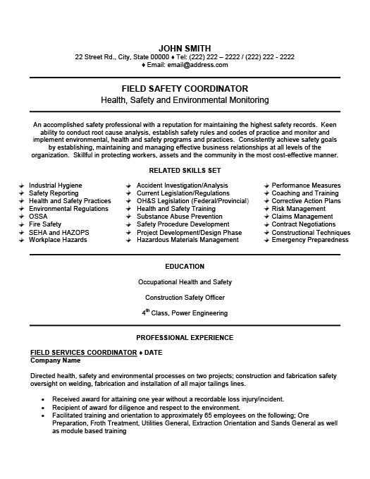 Field Safety Coordinator Resume Template