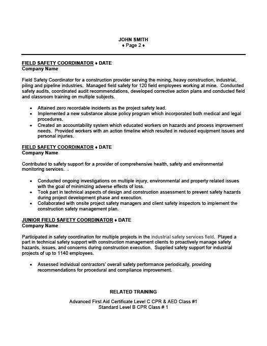 field safety coordinator resume template premium resume samples example - Safety Coordinator Resume