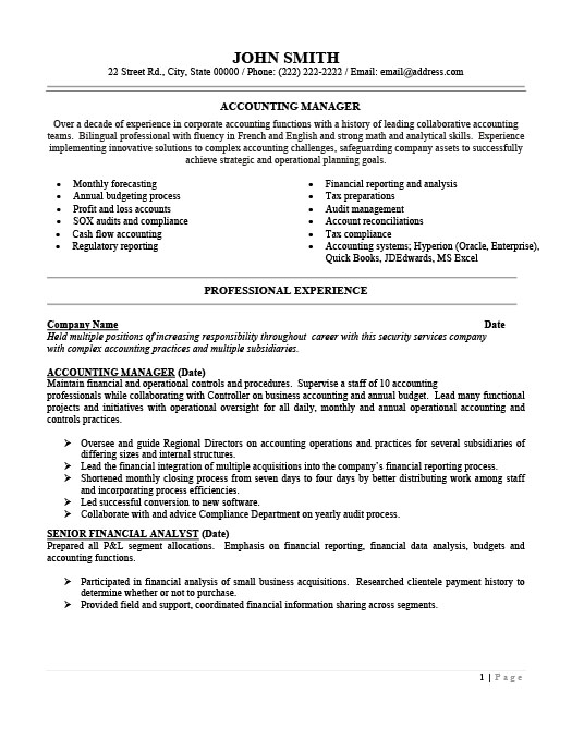 accounting manager resume template premium resume samples example - Manager Resume Template