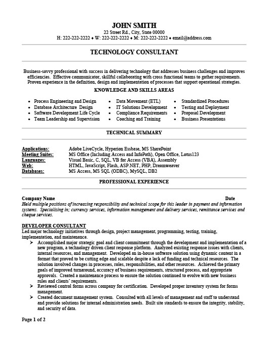 Technology Consultant. ProfessionalResume Template ...