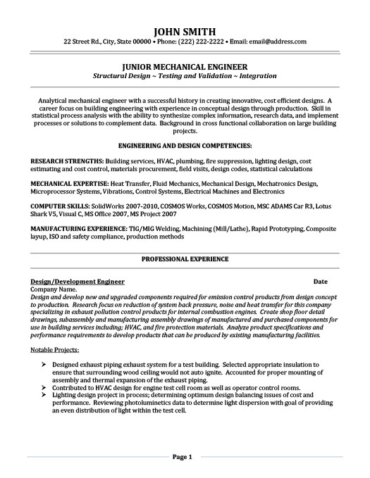 junior mechanical engineer resume template